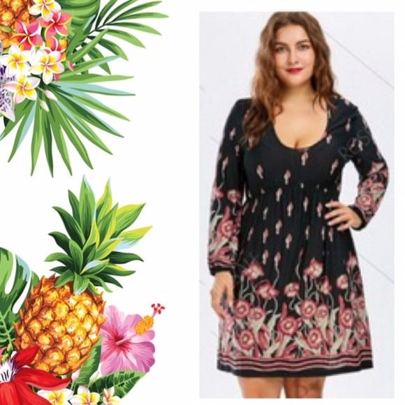 SYMS Dresses | Plus Size Floral Long Sleeve Skater Dress 4x | Poshmark